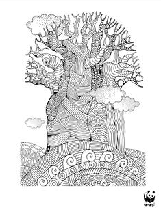 Wild Classroom Baobab Tree Coloring Page
