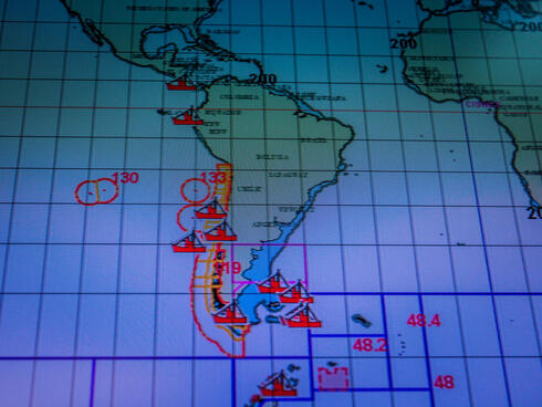 Electronic map monitoring fishing vessels of the coast of Chile