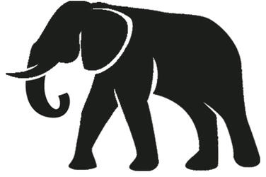 graphic icon of an elephant colored dark grey