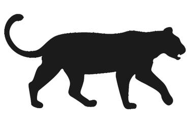graphic icon of a lioness colored dark grey