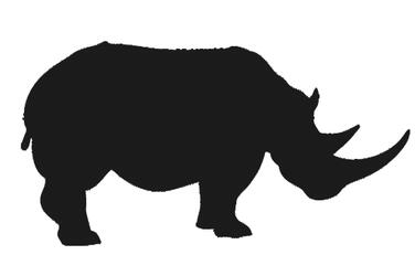 graphic icon of a rhino colored dark grey