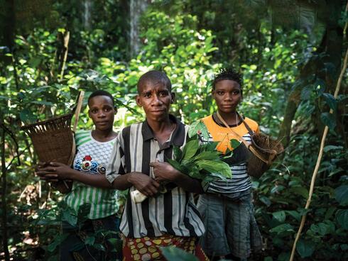 Ba'Aka elders facing camera