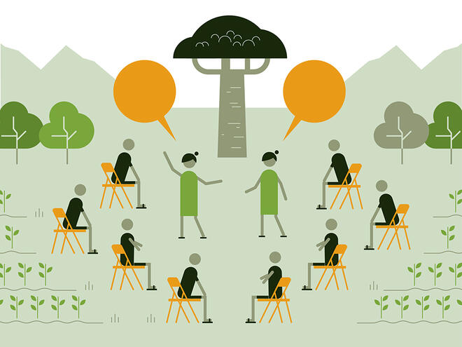 Graphic illustration of 8 figures sit and listen to two figures speaking to show the safeguard of 'learn from and empower communities'