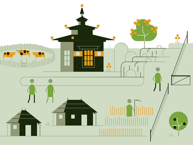 Illustration of a temple, village, and figure with a farming scythe show the WWF safeguard 'respect and protect people's rights, beliefs and way of life'