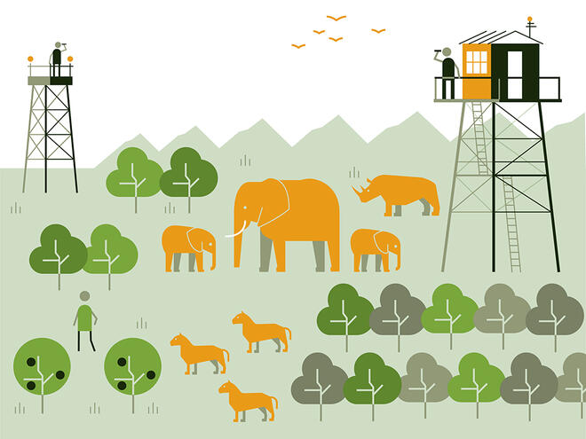 Illustration of two figures with binoculars stand on a watch tower looking out over a landscape with a person, giraffe, three elephants and three lions roaming in it to show the WWF safeguard 'protect nature and wildlife'
