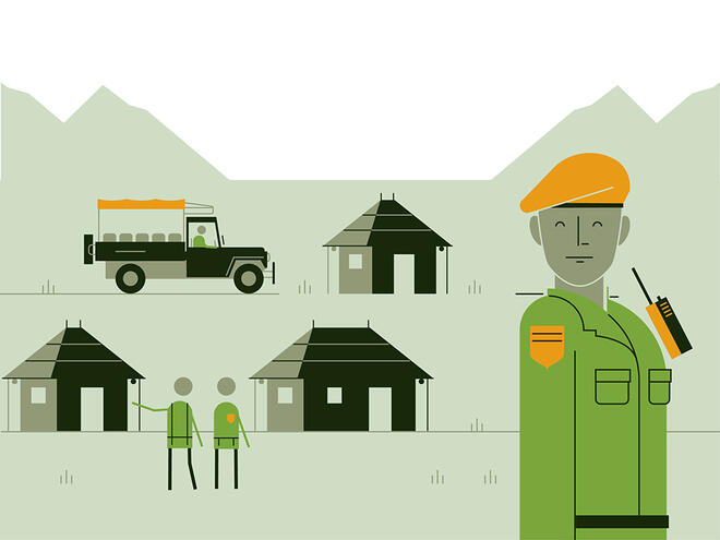 Illustration of a ranger station with three houses, a car and ranger smiling shows the WWF safeguard 'provide protection for both people and wildlife'.