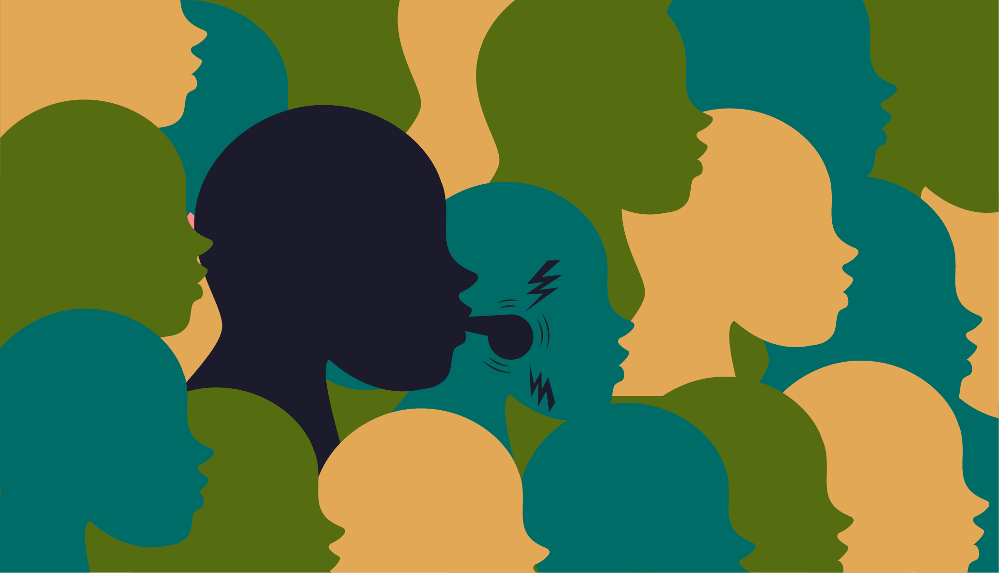 Overlapping silhouettes of faces in green, yellow, and blue with a prominent silhouette in black blowing a whistle