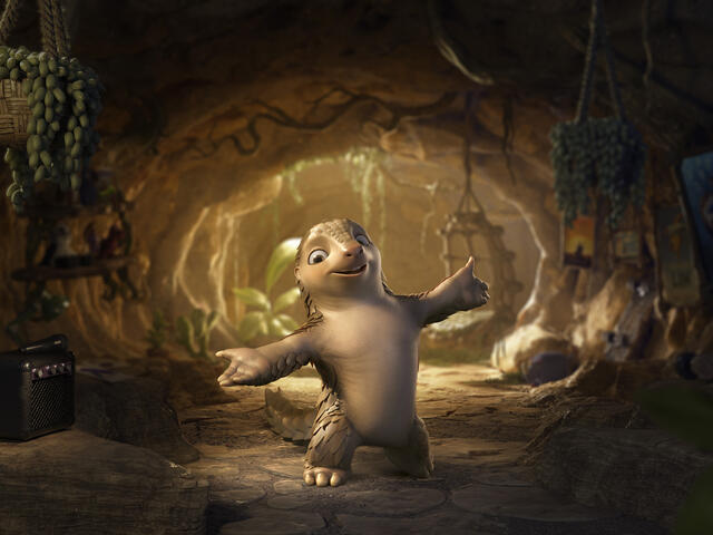 Still of an animated pangolin character, Lin the Pangolin, with his arms up saying hello.