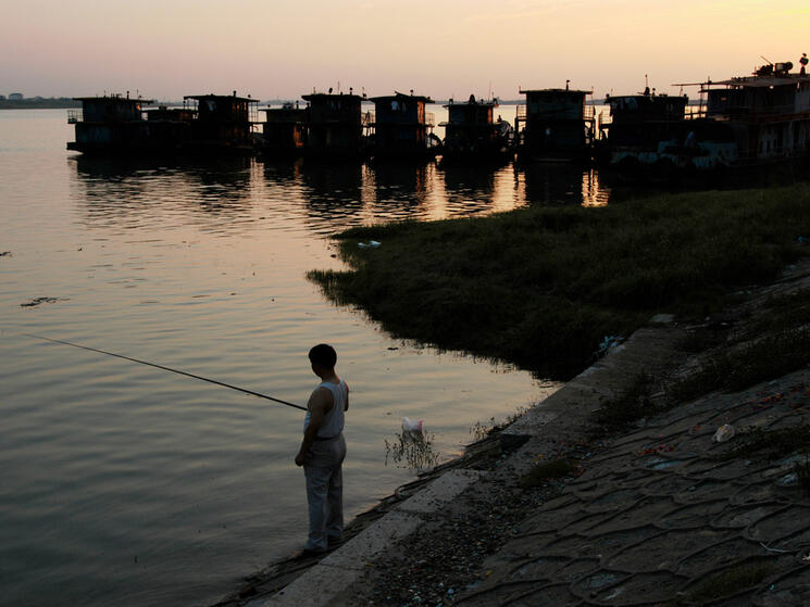 a lone fisher stands on the banks of a river