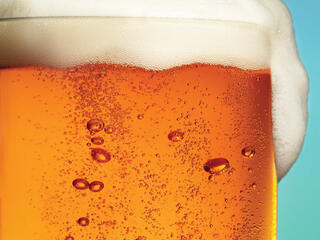 Closeup of glass of beer