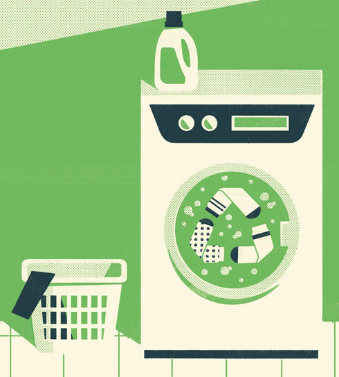 Illusration of washing machine with recycle logo