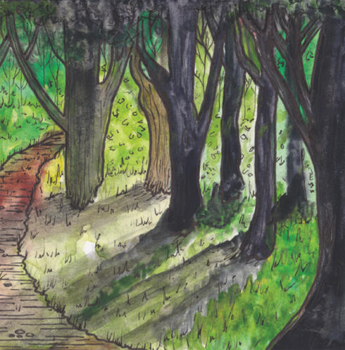 Painting of wooded path