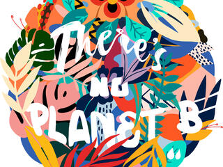Colorful illustration saying there is no planet B