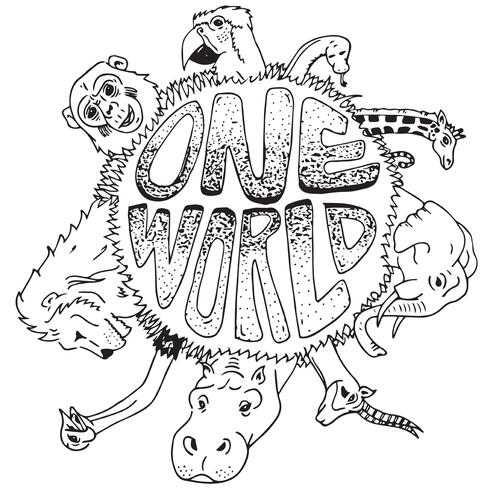 Line drawing of logo with words One World surrounded by animals