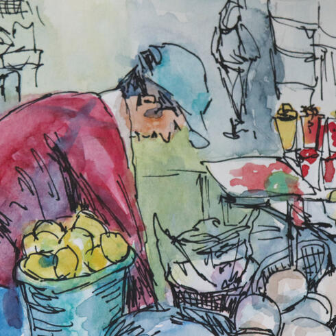 Watercolor of market vendor and fruit