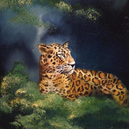 Painting of jaguar at night