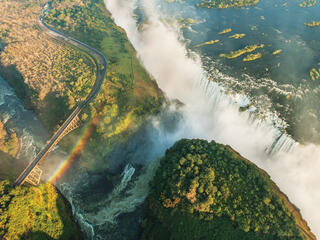 Aerial view of Victoria Falls with rainbow