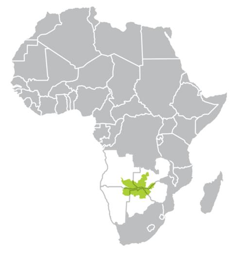 Africa map highlighting KAZA region