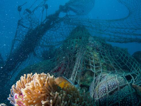 Underwater view of abandoned fishing nets caught on a coral reef