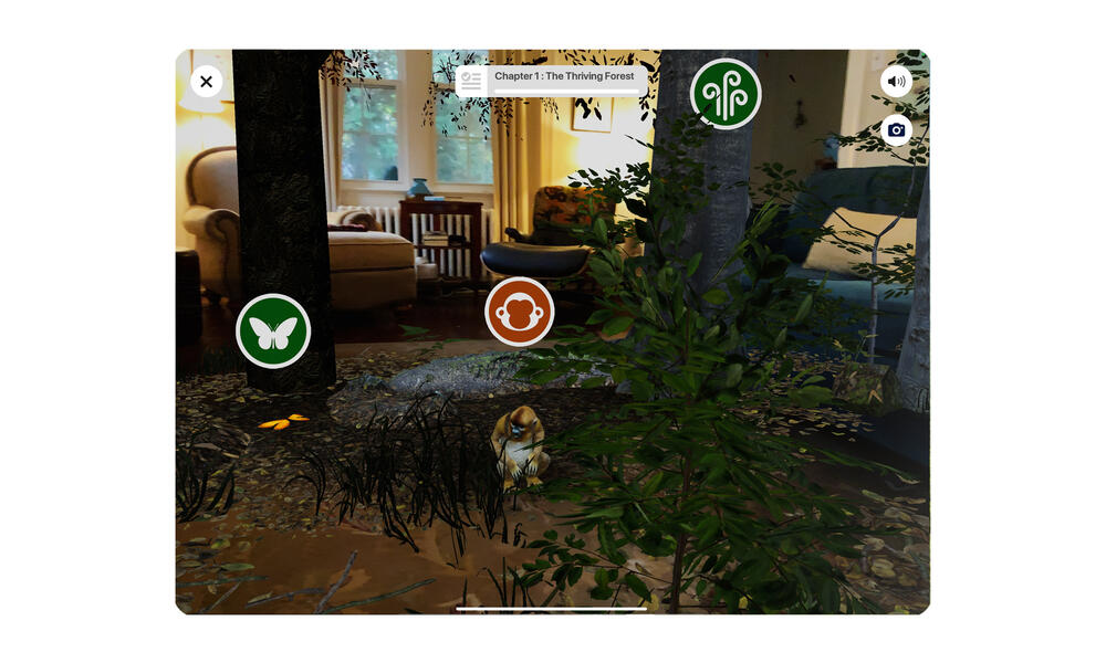 Screen image of room with AR monkey and trees