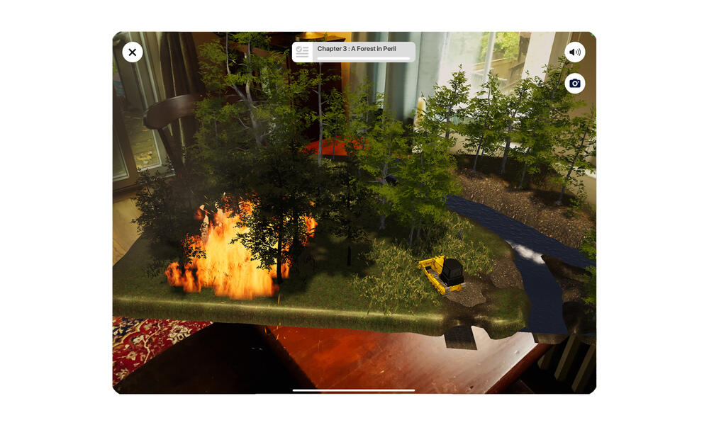 Screenshot of room with AR forest fire and bulldozer