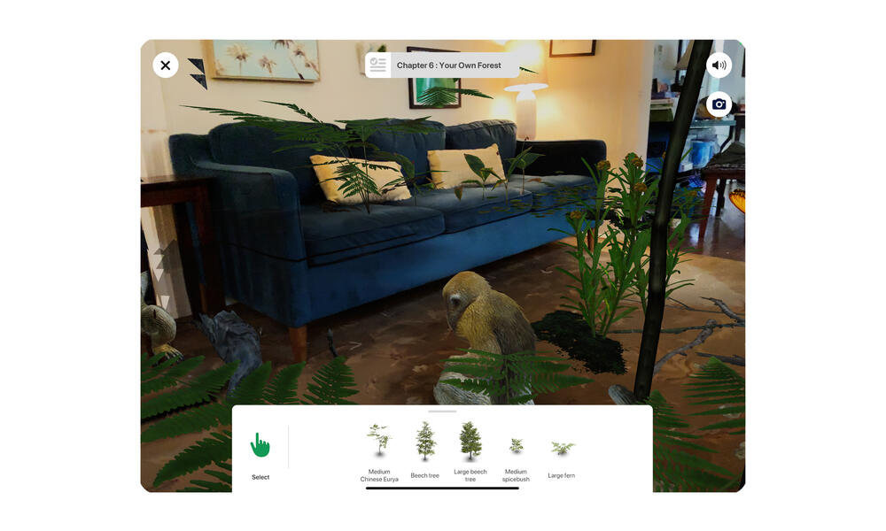 Screenshot of room with AR forest and monkey