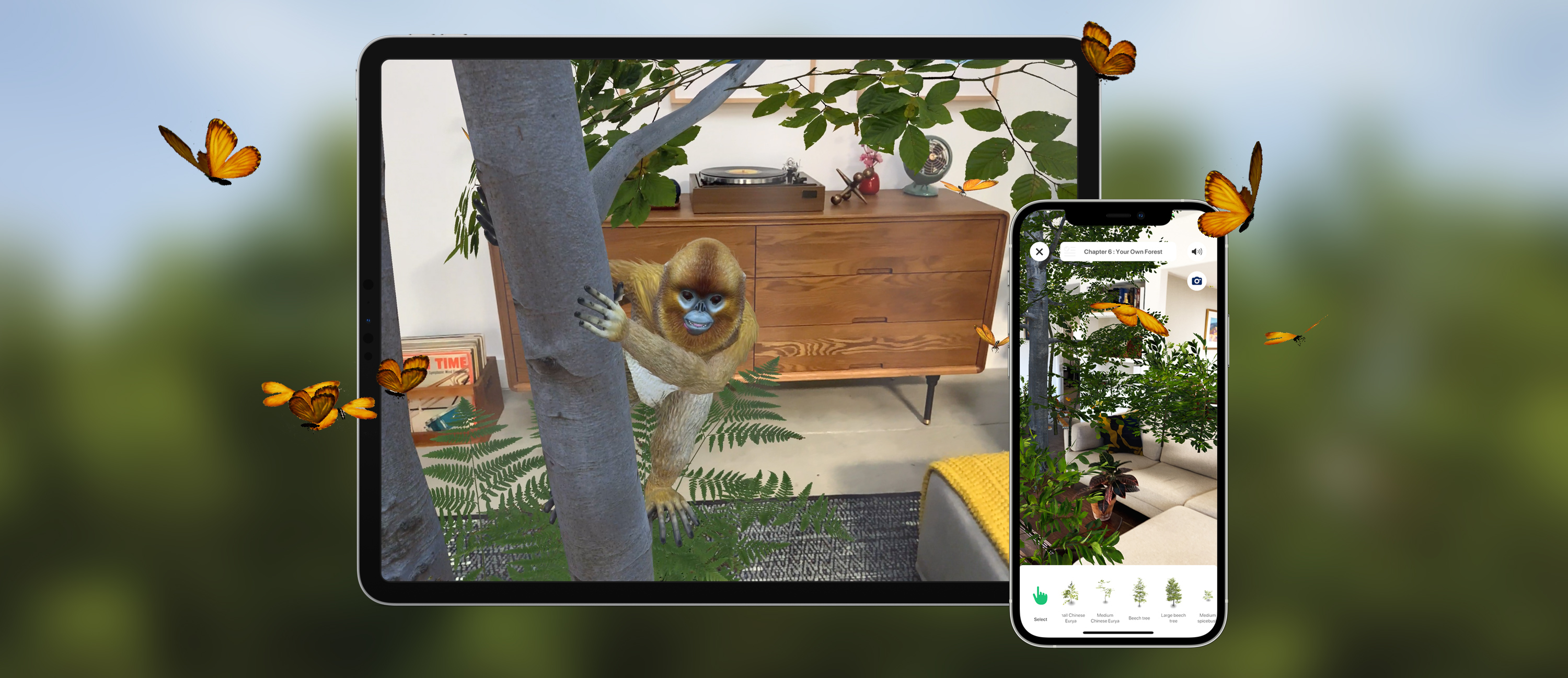 ipad and iPhone showing AR trees and animals in a room