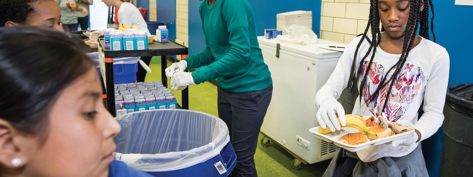 Four students participate in WWF's food waste education program at Seaton Public Elementary School, Washington, DC