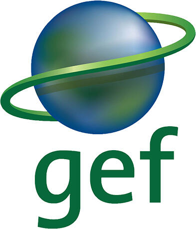GEF logo of a blue and green gradient sphere and green ring around it. The letters gef are below this planet