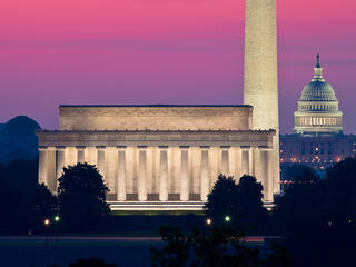 US Capitol_Washington Monument_Lincoln Memorial at dawn