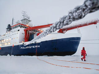 Ship in ice with crewperson walking outside