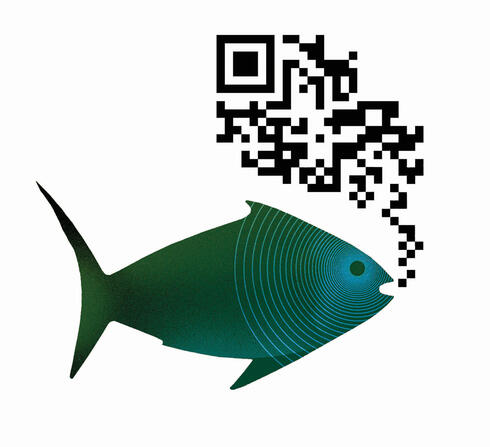 Graphic of fish with IR code
