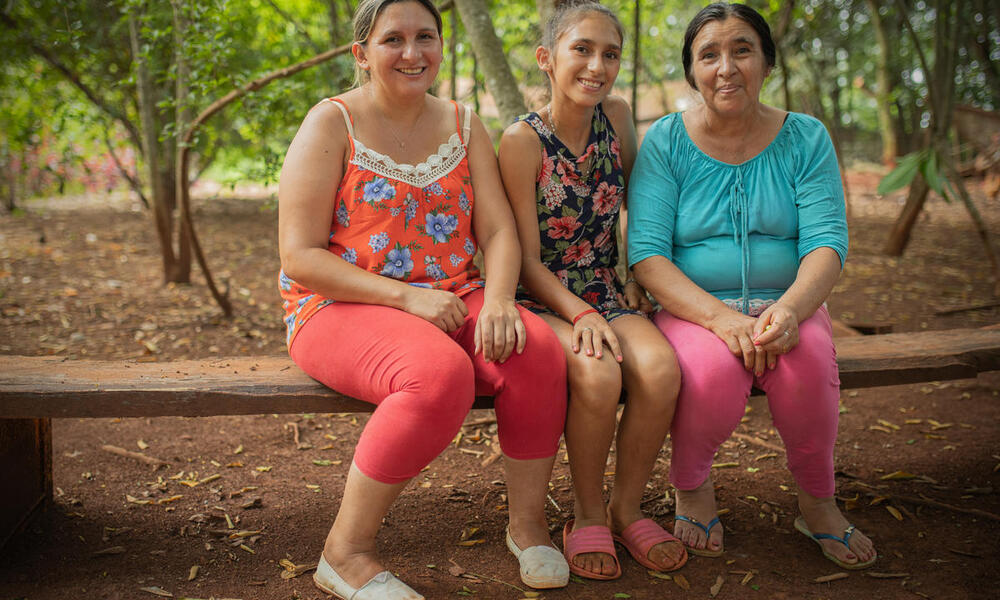 three generations of women as part of MATE project cooperative in the Atlantic Forest, Paraguay