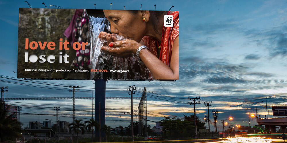 Billboard along a road with a woman drinking water and the line 'love it or lose it'