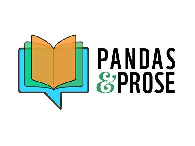 Pandas and Prose logo featuring book and word bubble combination