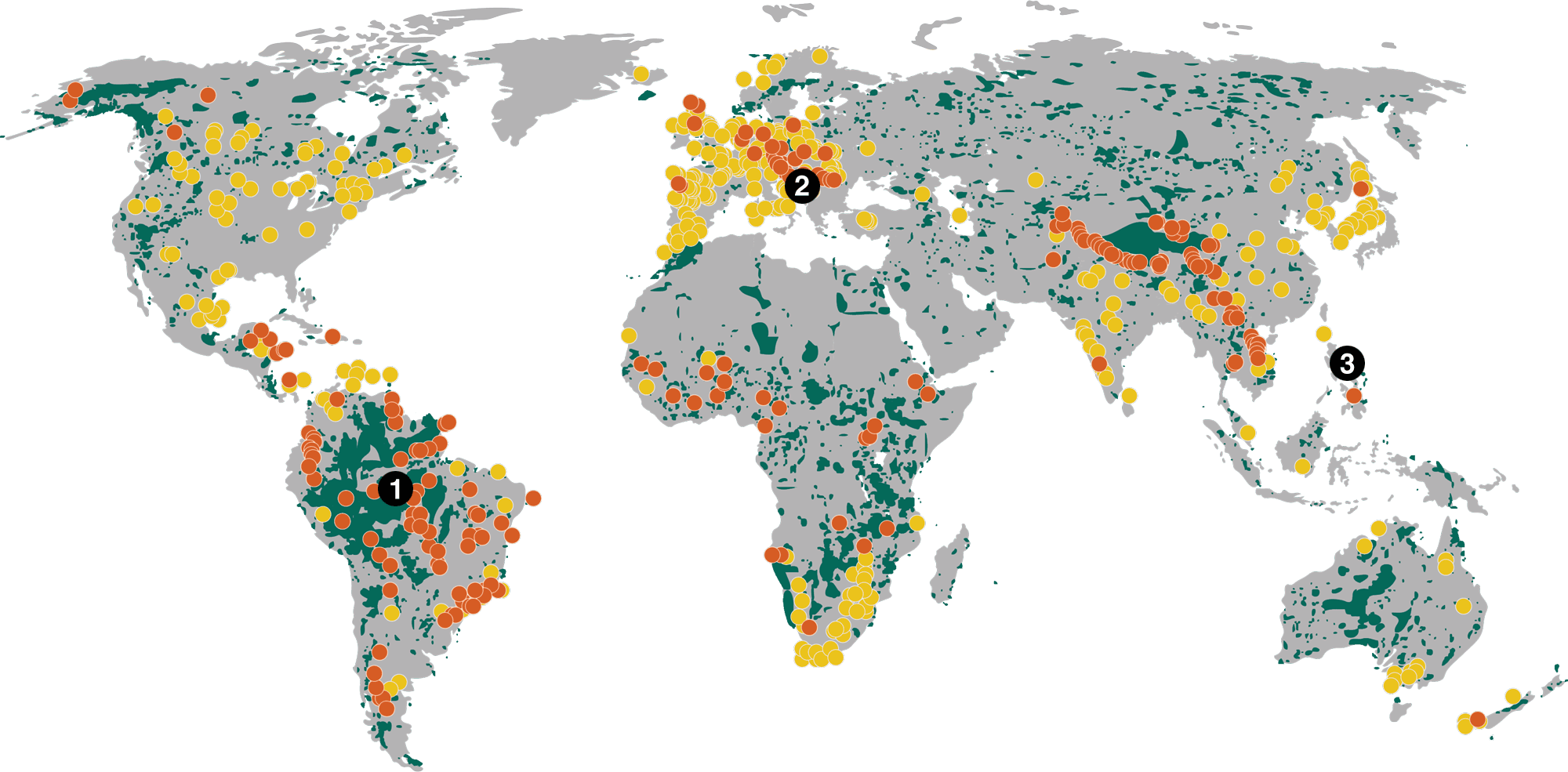 Map of world showing dams and protected areas