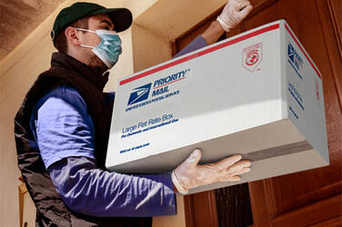 Postal carrier at door with box