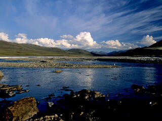 View of Aichilik River with shoreline in the Arctic National Wildlife Refuge