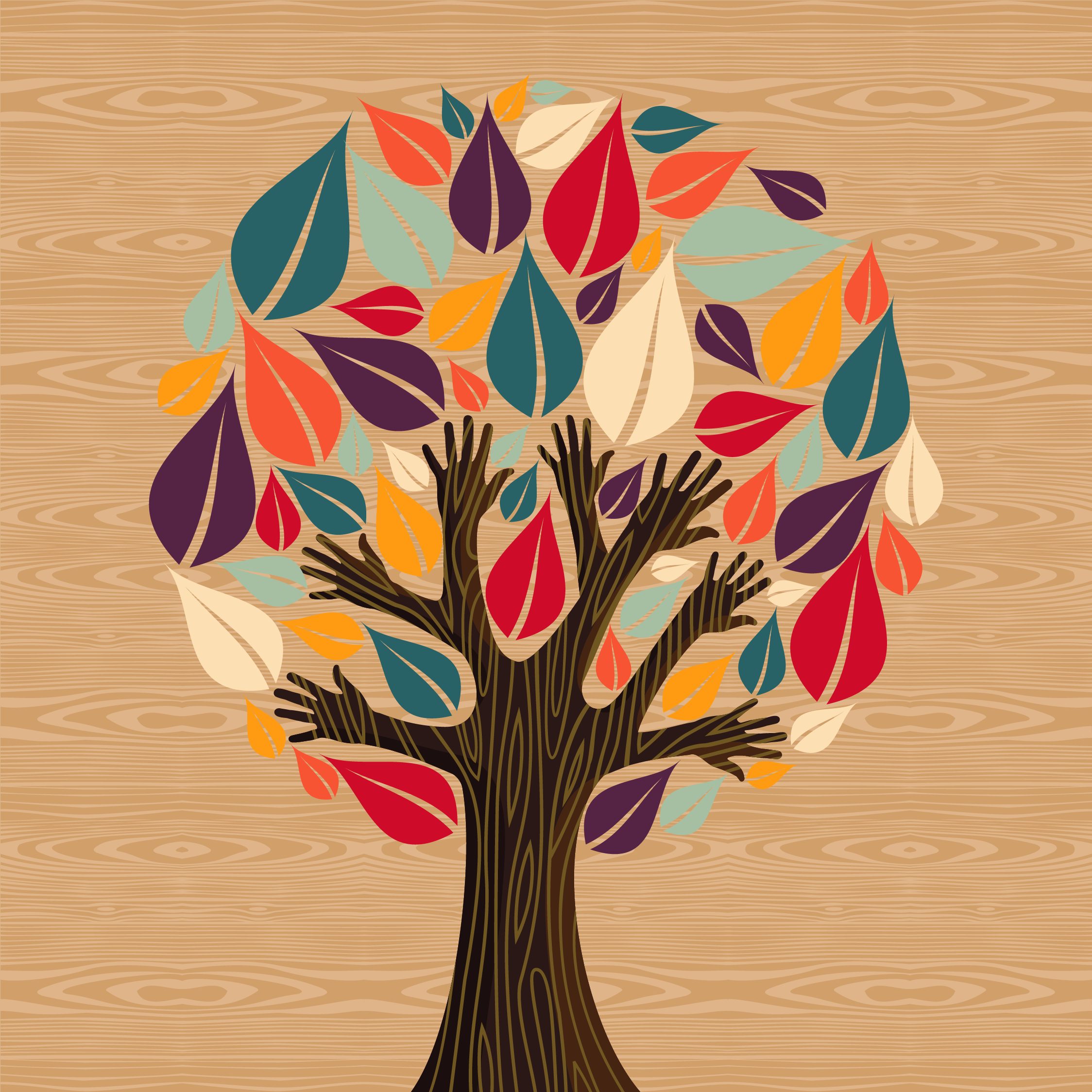 An illustration of a tree with large red, purple, and teal leaves and a dark brown trunk with human hands instead of branches