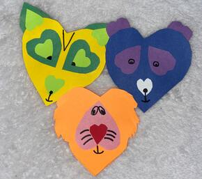 Wild Classroom Arts and Crafts Project - Animals made out of paper hearts
