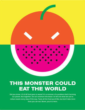 Animated food monster created from scraps of food