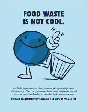 Poster containing the words Food Waste Is Not Cool and an animated planet Earth kicking over a trash can