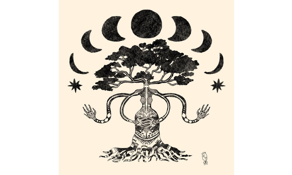 Illustration of a tree with a humanoid figure on a cream colored background. A moon phase is on top of the tree.
