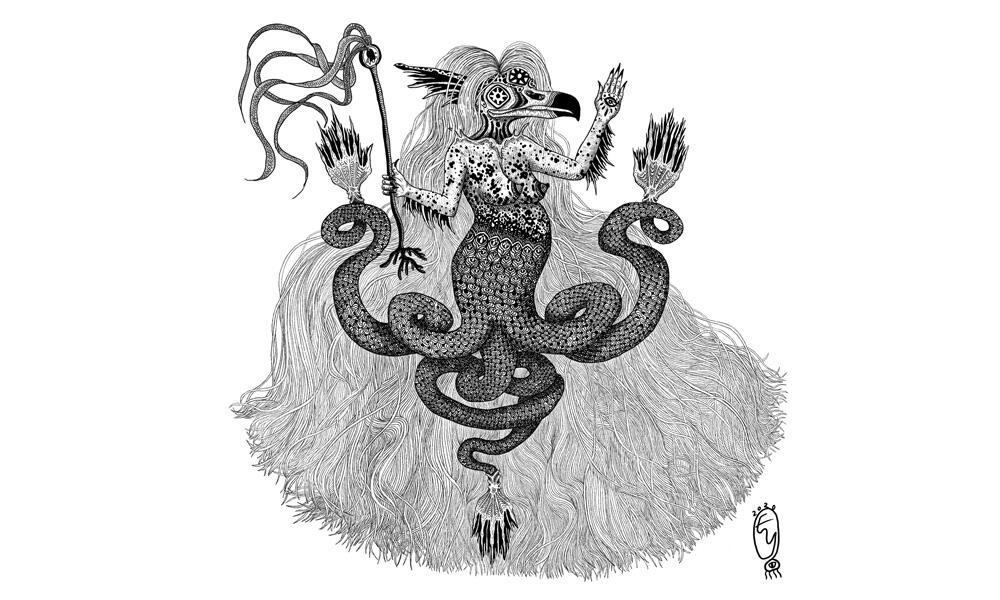 Illustration of an amabie, a creature from Japanese myth that wards off disease and provides protection.