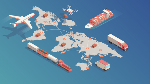 An illustration of a plane, train, truck, and ship with shipping containers large over a world map on a blue background
