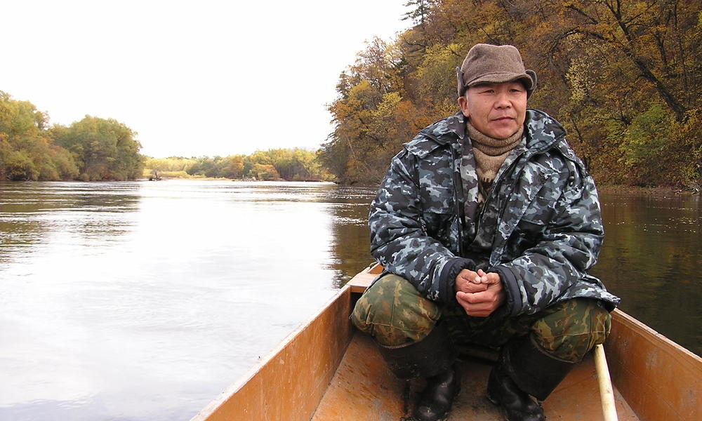 This native Ugdege antipoaching patrol member patrols the Bikin river basin forests that shelter tigers and Amur leopards in the Russian Far East.