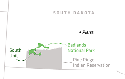 Map of Badlands and Pine Ridge