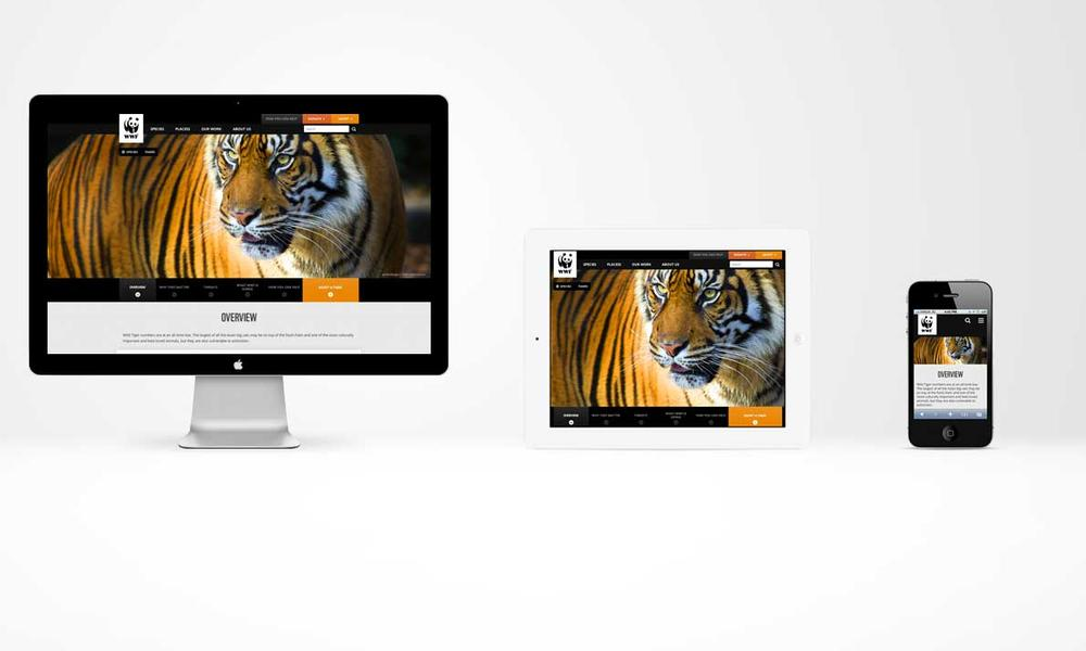 WWF's new site is responsive by device