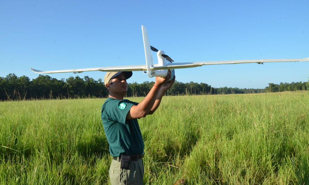 Purusottam Sharpa readies a UAV