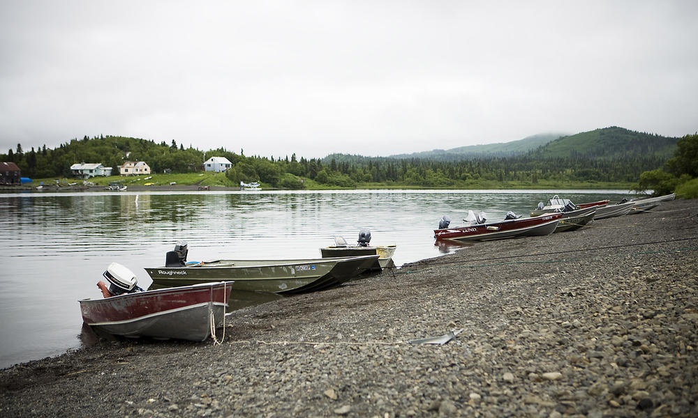 Skiffs on shore of Lake Aleknagik near Dillingham, Bristol Bay, Bering Sea, Alaska